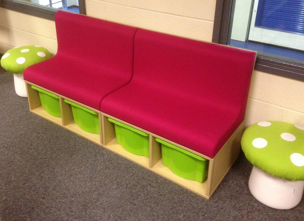 Reading Corner Furniture library seating with combined storage boxes. reading corner
