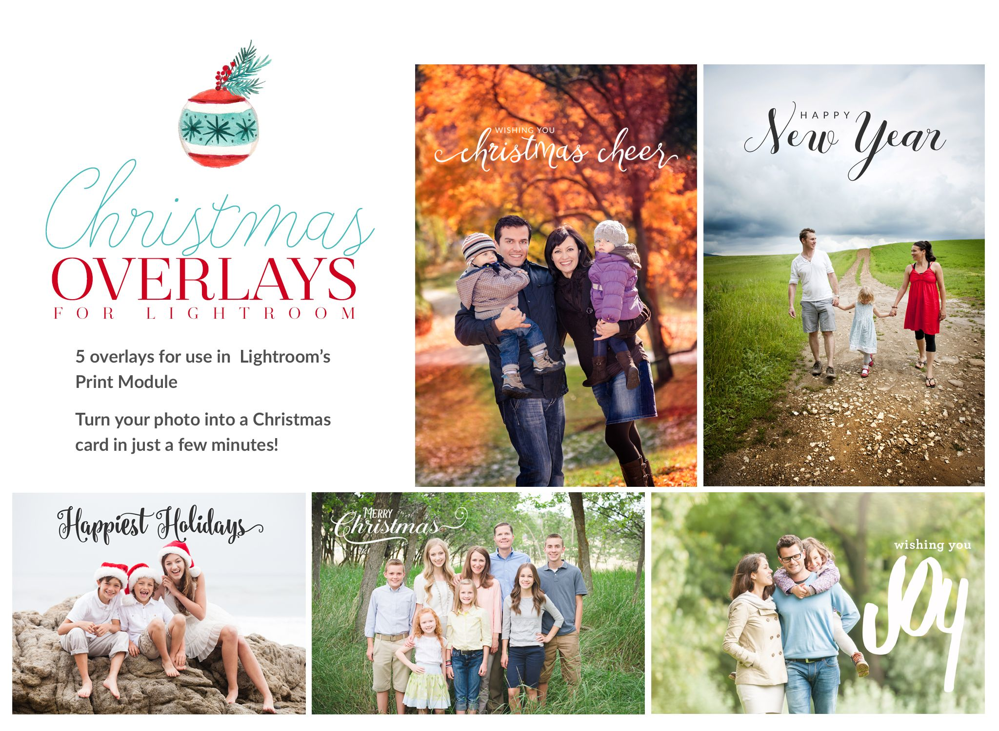 FREE Christmas Card Overlays for Lightroom + a tutorial for Creating a Christmas Card in Lightroom!