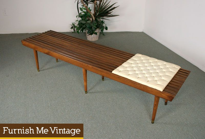 6ft Long Mid Century Modern Slat Bench With Cushion Living Room