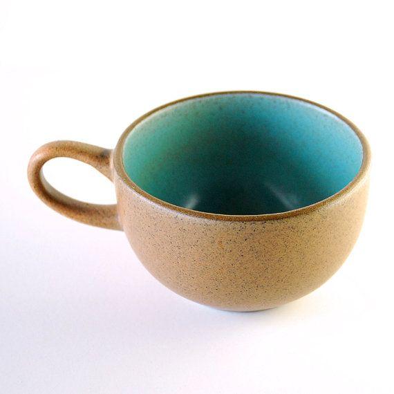 Vintage Heath Ceramics Teacup in Aqua and Brown | Coffee Mug