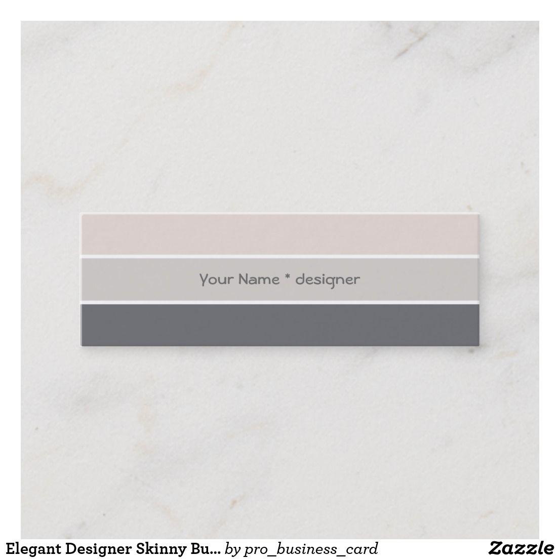 Elegant Designer Skinny Business Card Template Zazzle Com Business Card Template Business Cards Cards