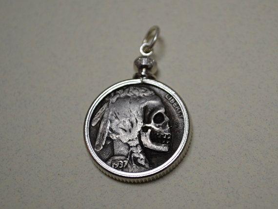 Skull Hobo Nickel Coin Pendant - Buffalo Nickel Engraved