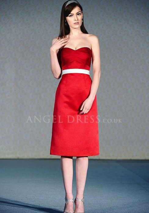 e9502de9c667 bridesmaid red dresses, with white ribbon around the waist | ... Knee  Length Natural Waist Bridesmaid Gowns With Sash/ Ribbon #A3101686