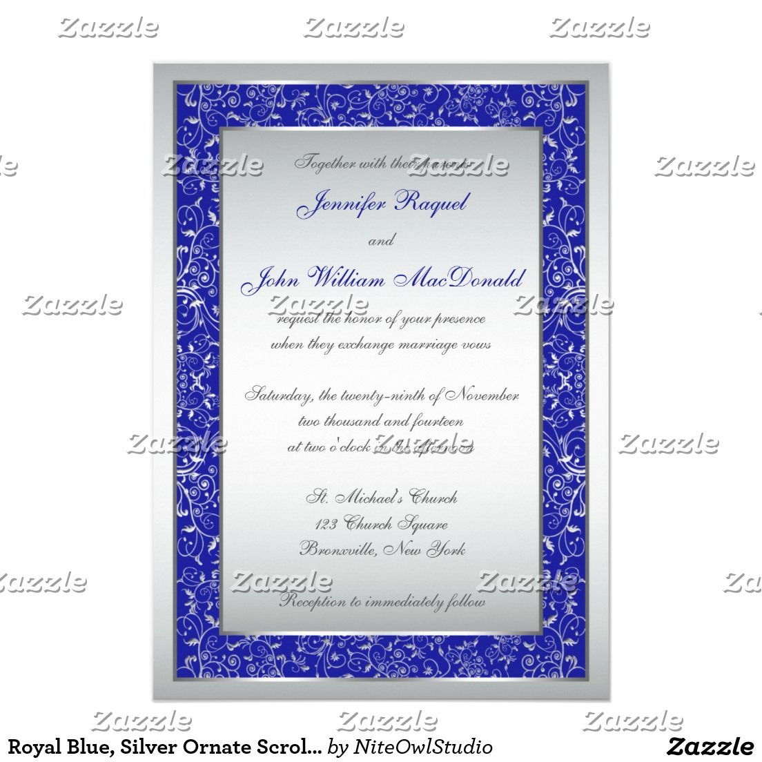 Royal Blue Silver Ornate Scrolls Wedding Invite Silver Wedding