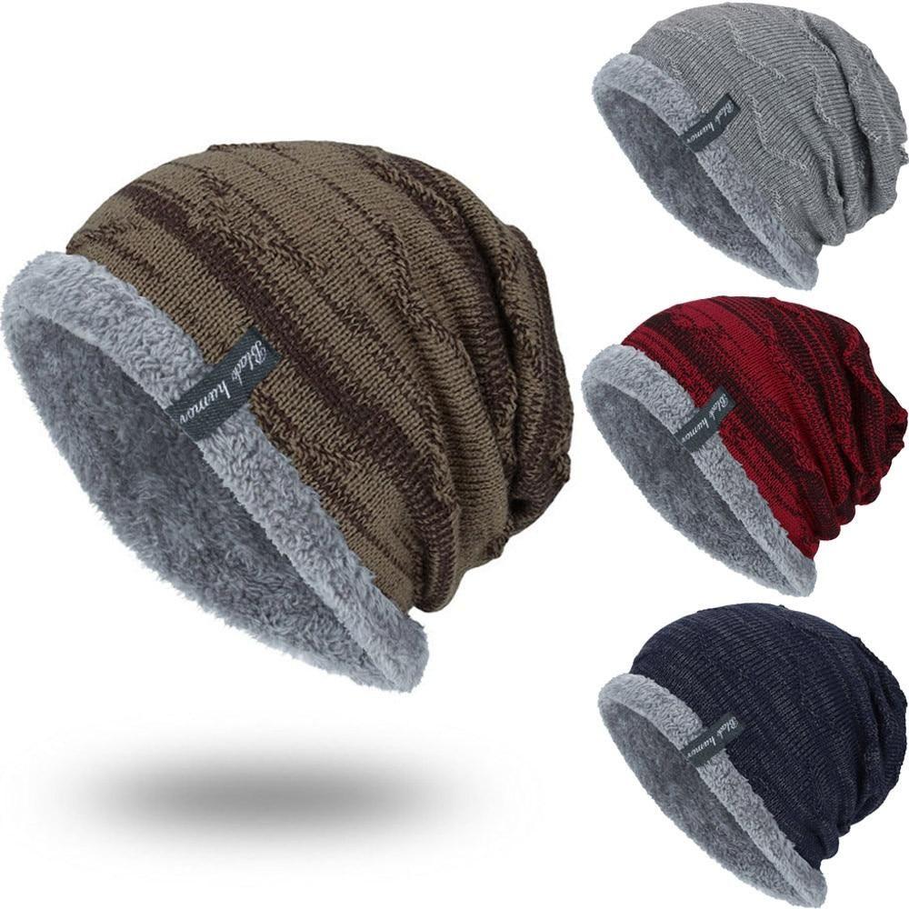 a0e9686dc FASHION Boys Men Winter Hat Knit Scarf Cap Men Caps Warm Fur ...