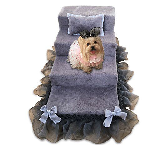 Wondrous Qz Grey Dog Stairs For Small Dogs 4 Step 50Cm High Suede Dailytribune Chair Design For Home Dailytribuneorg