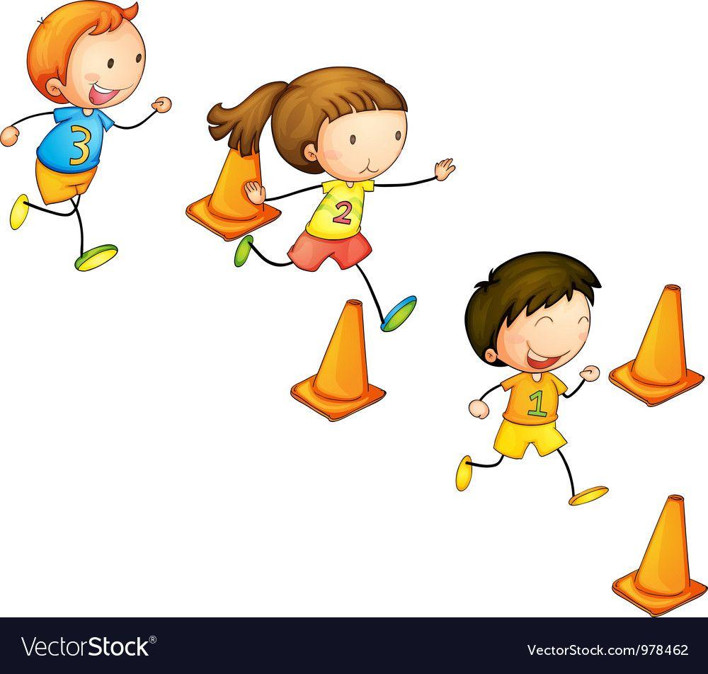 Running Kids Royalty Free Vector Image Vectorstock Kids Vector Kids Clipart Kids Doodles