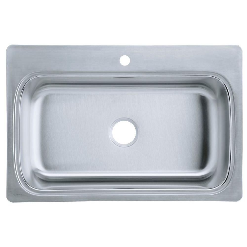 KOHLER Verse Self-Rimming Stainless Steel 33x22x8.25 1-Hole Kitchen ...