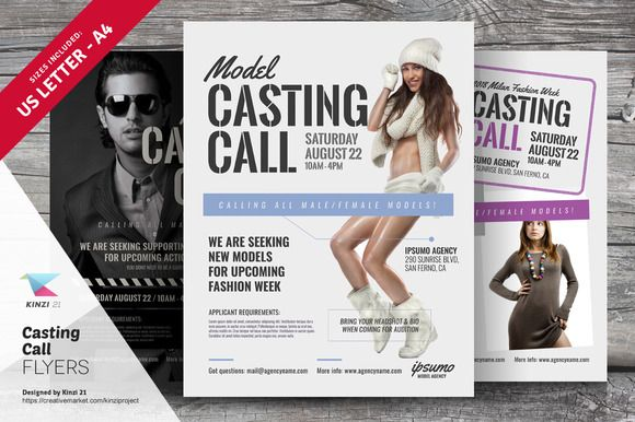 Casting Call Flyer Templates by kinzi21 on @creativemarket - Seminar Flyer
