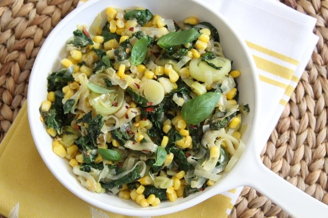 Rainbow Chard, Leeks, and Corn with Lemon Basil | Lattes & Leggings