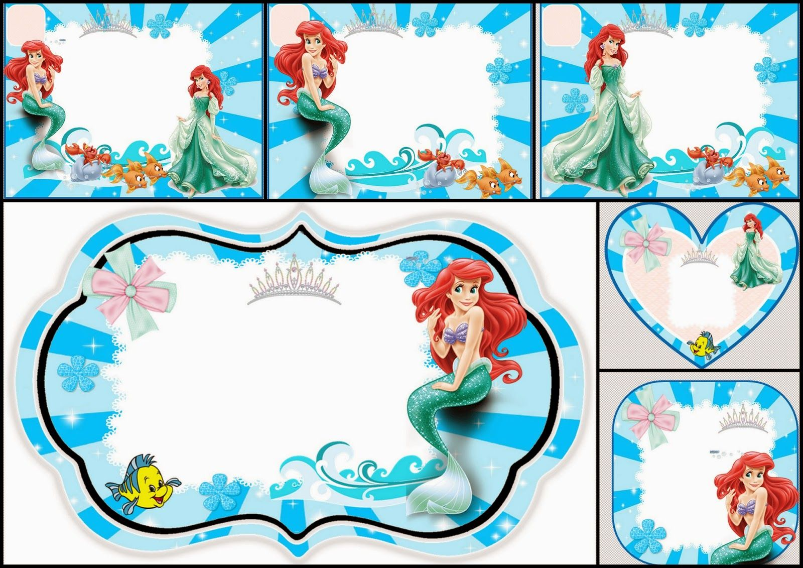 The Little Mermaid Free Printable Invitations, Cards or Photo Frames ...