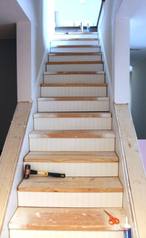 My EnRoute Life: Ugly Basement Stairs Update   Not Sure About Using Bead  Board,
