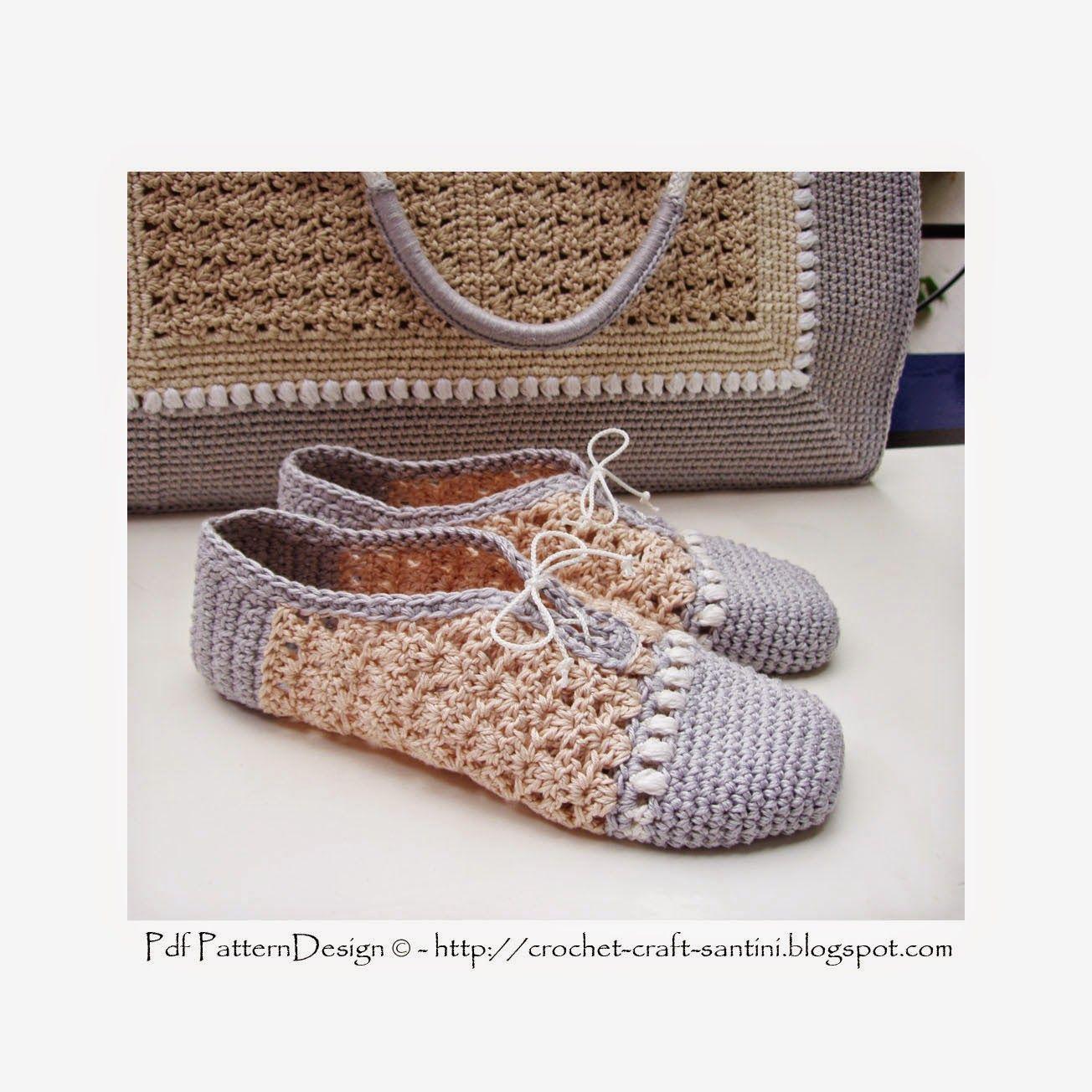 Crochet & Craft: CROCHET SLIPPER/SHOES WITH MATCHING SHOPPING BAG ...