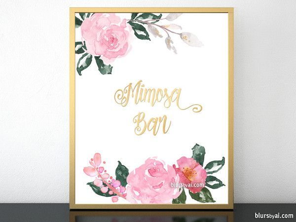 """Printable Mimosa Bar sign featuring roses and faux gold foil  Instant digital download. Printable wedding sign: """"Mimosa Bar"""", written in modern calligraphy featuring pink handrawn watercolor floral accents."""