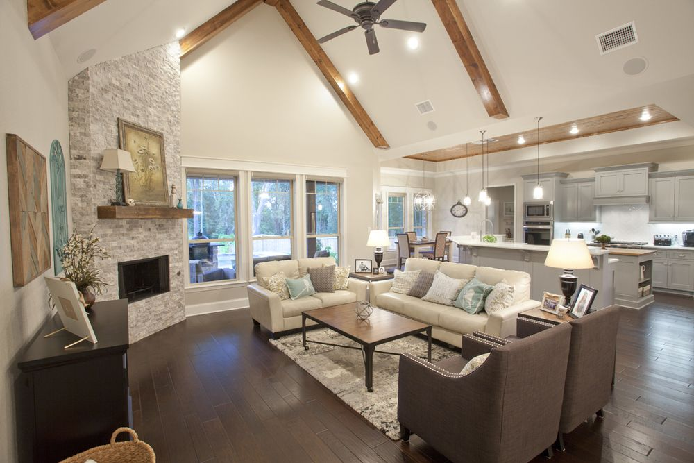 Living Room Opens Up To Kitchen. Open Concept Home. Wood