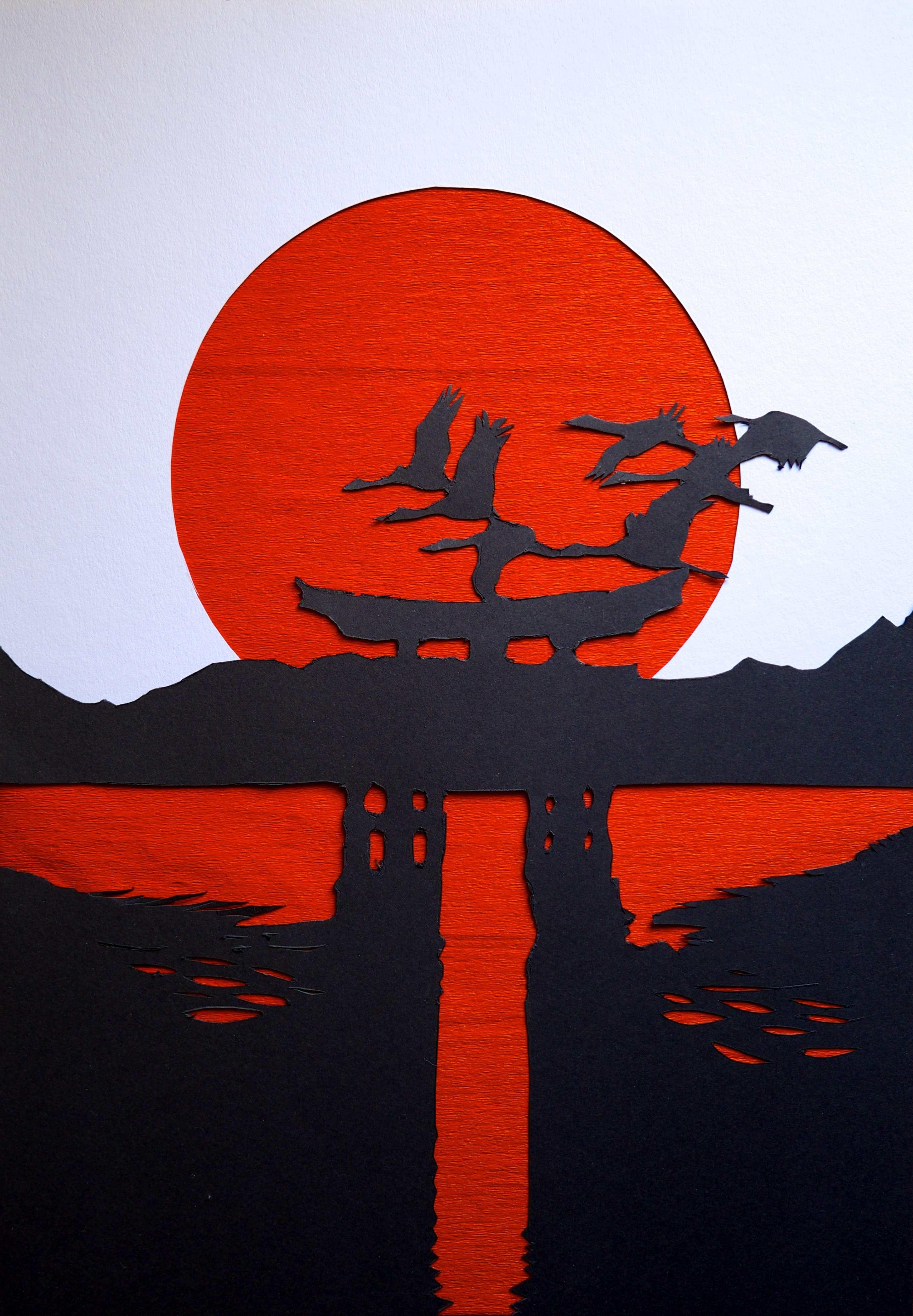 Bandera de Japón sobreponiendo cartulina blanca y negra sobre fondo ...