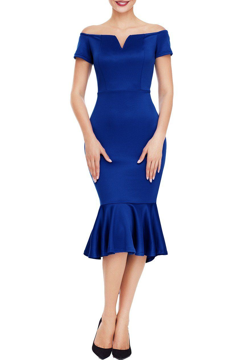2b9d3214f121 Off the Shoulder Short Sleeve Mermaid Party Blue Dress