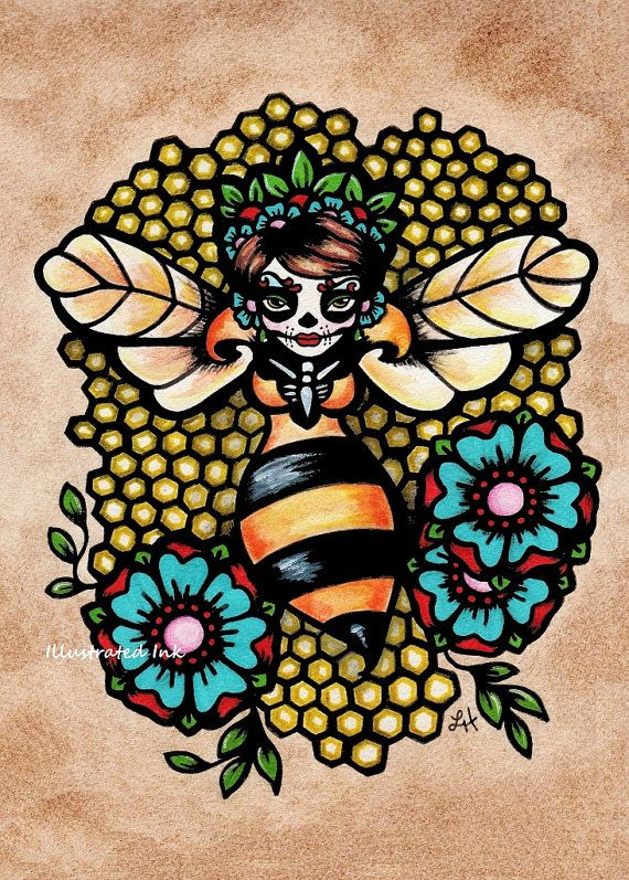 Day of the Dead Art QUEEN BEE Print 5 x 7, 8 x 10 or 11 x