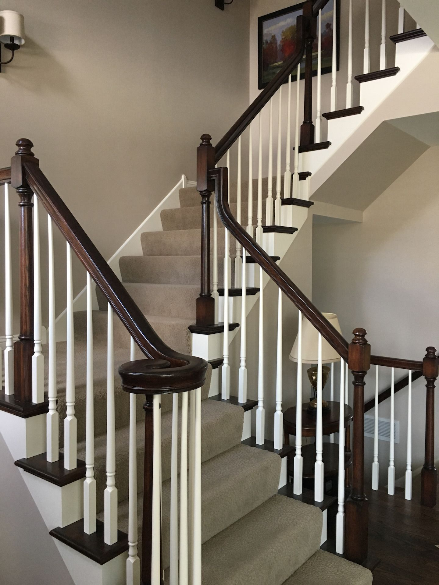 Dark railing, white spindles, dark treads, stairs, open ...