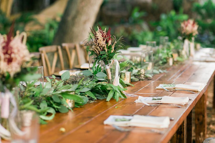 Rustic Outdoor Wedding Reception Décor with Blush, Champagne and Green Centerpieces on Wooden Feasting Farm Tables | Sarasota Wedding Florist Andrea Layne Floral Designs | Rentals by A Chair Affair