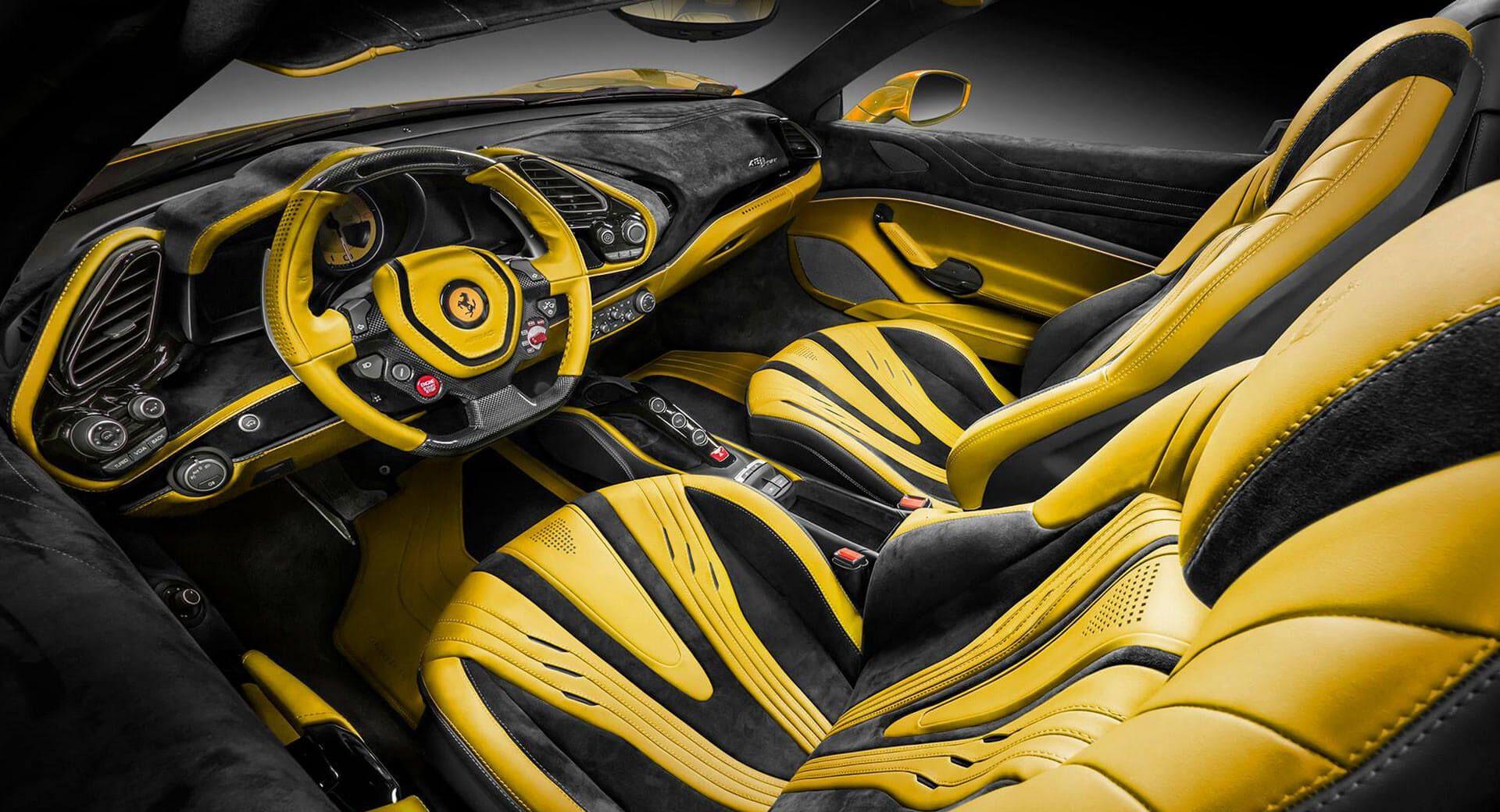 Latest Ferrari 488 Spider By Carlex Is All Yellow Leather And Alcantara Carscoops Latest Ferrari Ferrari Leather Car Seat Covers
