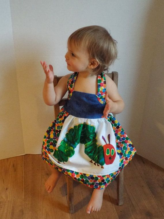 8c2d2a19cb24 Perfect Toddler Dress! Very Hungry Caterpillar Dress Baby and Toddler  Halter Neck Dress Perfect Party Dress Handmade Gift