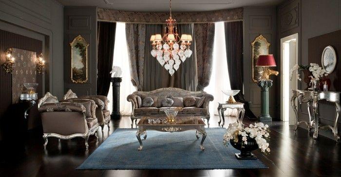 Wohnideen Wohnzimmer Klassischer Stil Schicke Gardinen Und Hellblauer Teppich