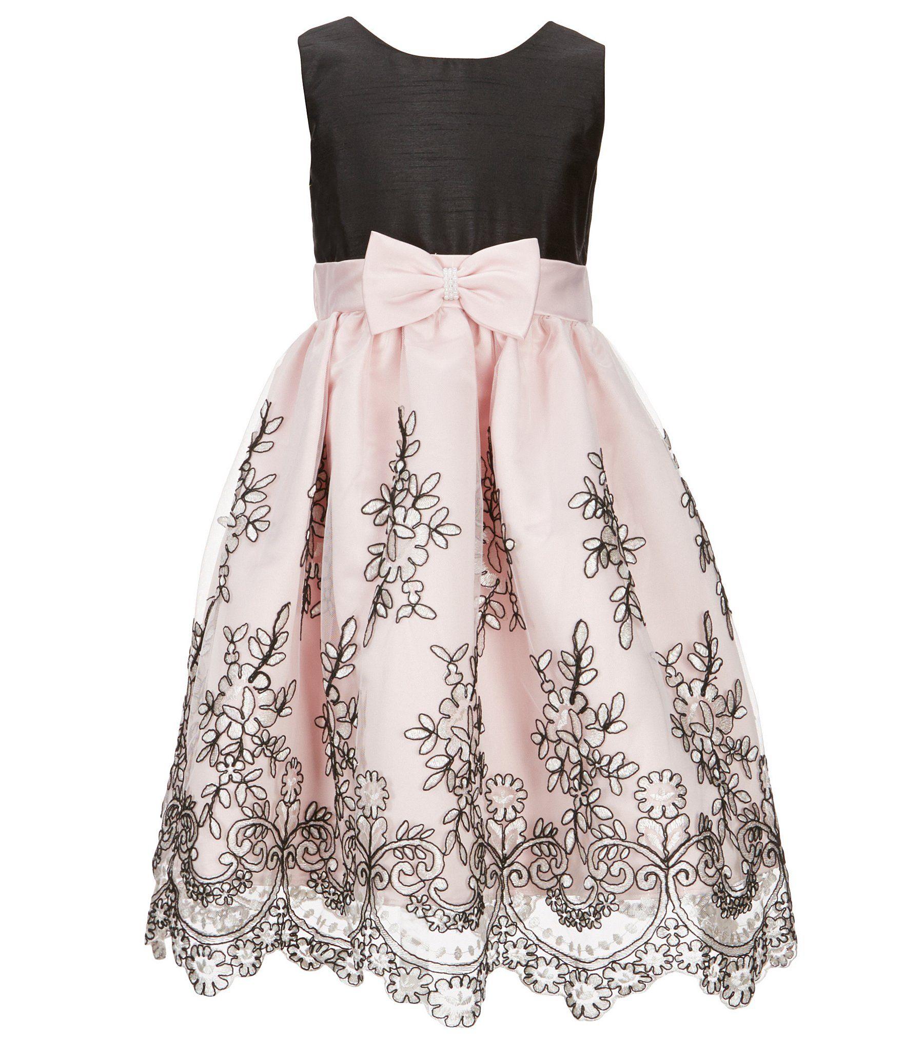 2b0ce0c689 Jayne Copeland Little Girls 2T6X FloralEmbroidered BowSash Dress  Dillards