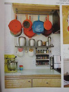 Pots Hanging   Le Creuset Pans