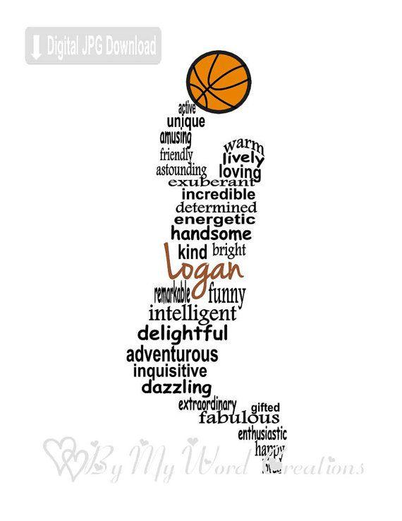 Basketball Player Art Boy Basketball Player Word Art Basketball Player Gift Personalized W Personalized Word Art Word Art Typography Basketball Player Gifts