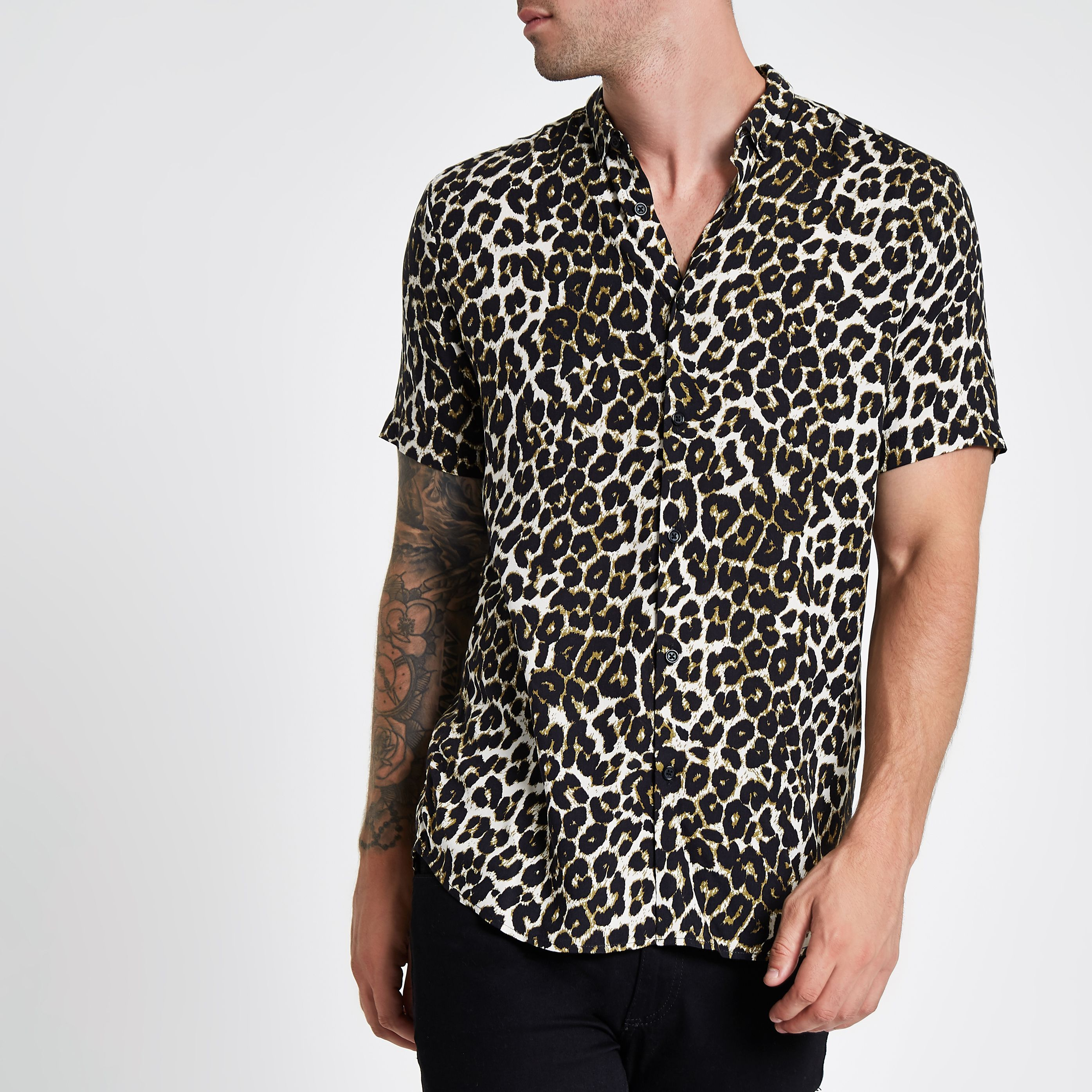 70d8ffe237e3b0 Stone leopard print short sleeve revere shirt in 2019 | Products ...