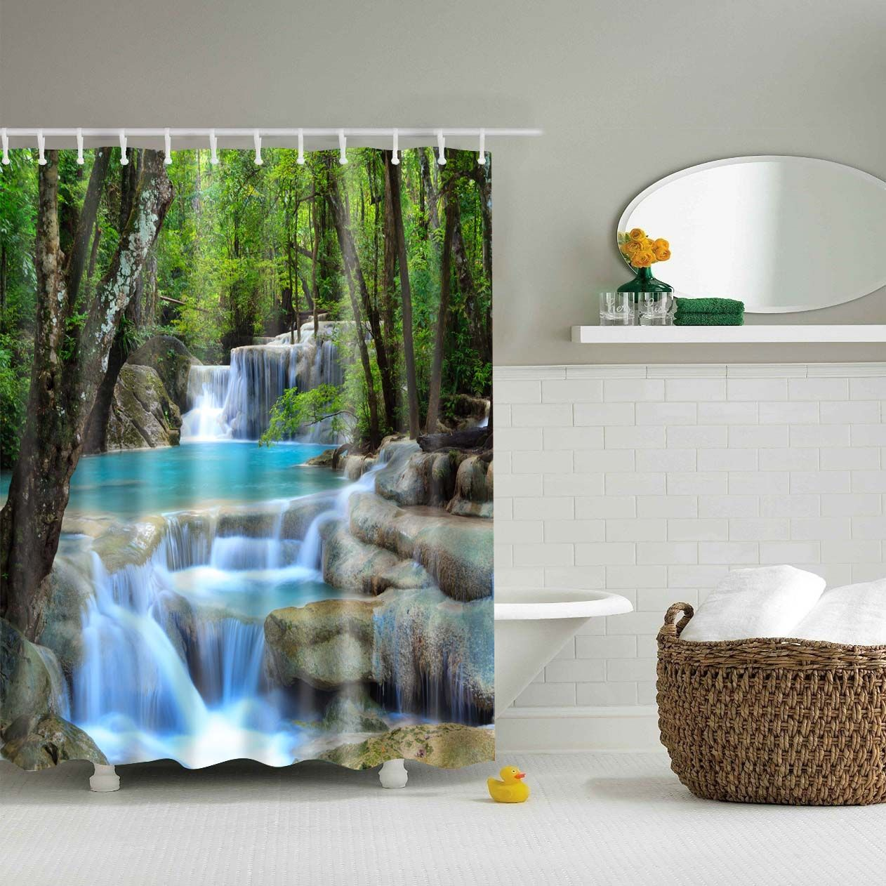 Waterproof Polyester Fabric Forest Pattern 3d Bath Curtain B