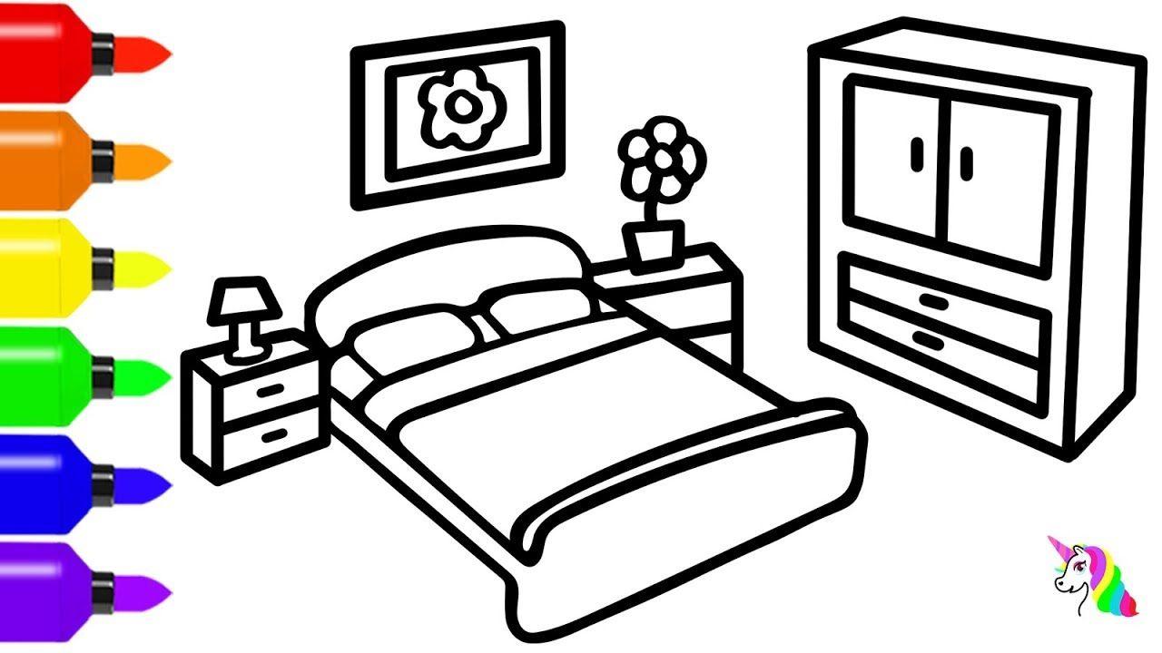 How To Draw Bedroom Coloring Page Cara Menggambar Dan Mewarnai Mainan