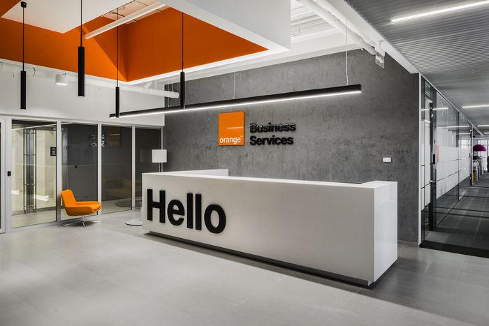 Orange business services offices  moscow office counter design reception also best images in rh pinterest