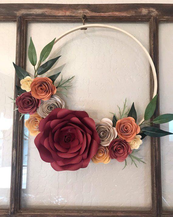 Photo of Boho Hoop Wreath, Paper Floral Wreath, Floral Hoop Wreath, Fall Decor, Paper Flo …