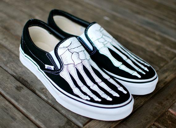 24c1ab142b Hand Painted Skeleton Boney Feet Slip On Vans by BStreetShoes