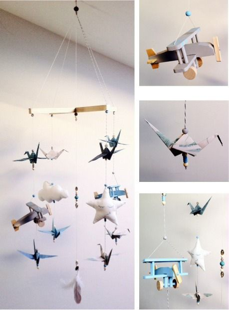 mobile b b origami et avion bleu et gris chambre b b pinterest. Black Bedroom Furniture Sets. Home Design Ideas
