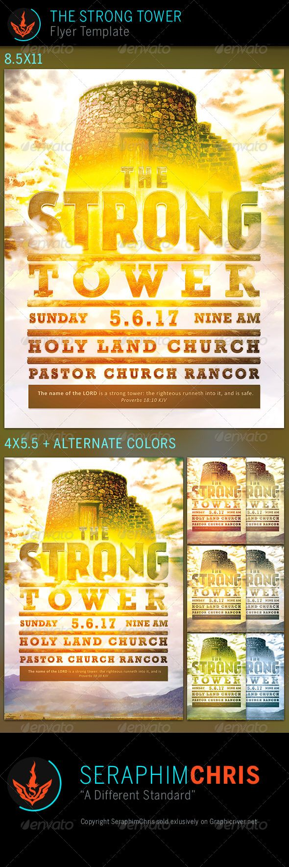 The Strong Tower Church Flyer Template Photoshop PSD Gospel Concert Grand Opening O Available Here