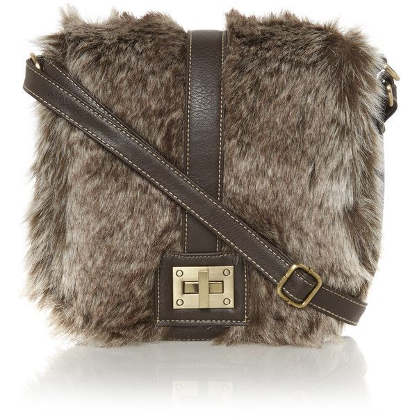 Brown Fur Bag Leather Strap Faux Handbags Edsfashions Co Uk