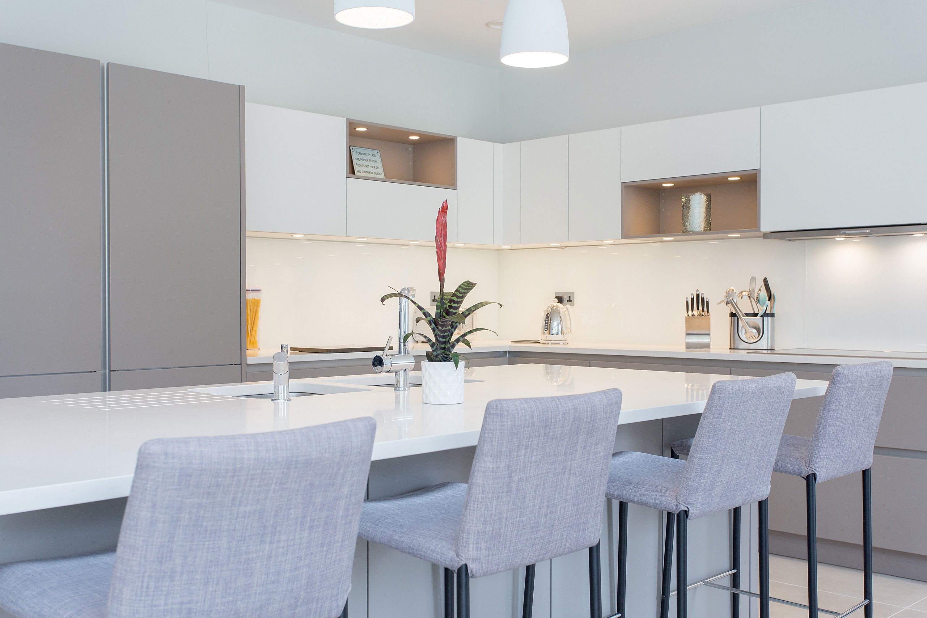 Nolte Handleless Kitchen in Soft Lac White and Lava | Modern kitchen ...