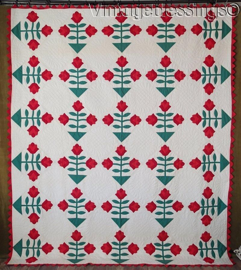 """Outstanding! Large Vintage RED & Green Applique TULIPS QUILT 95"""" x 81"""""""