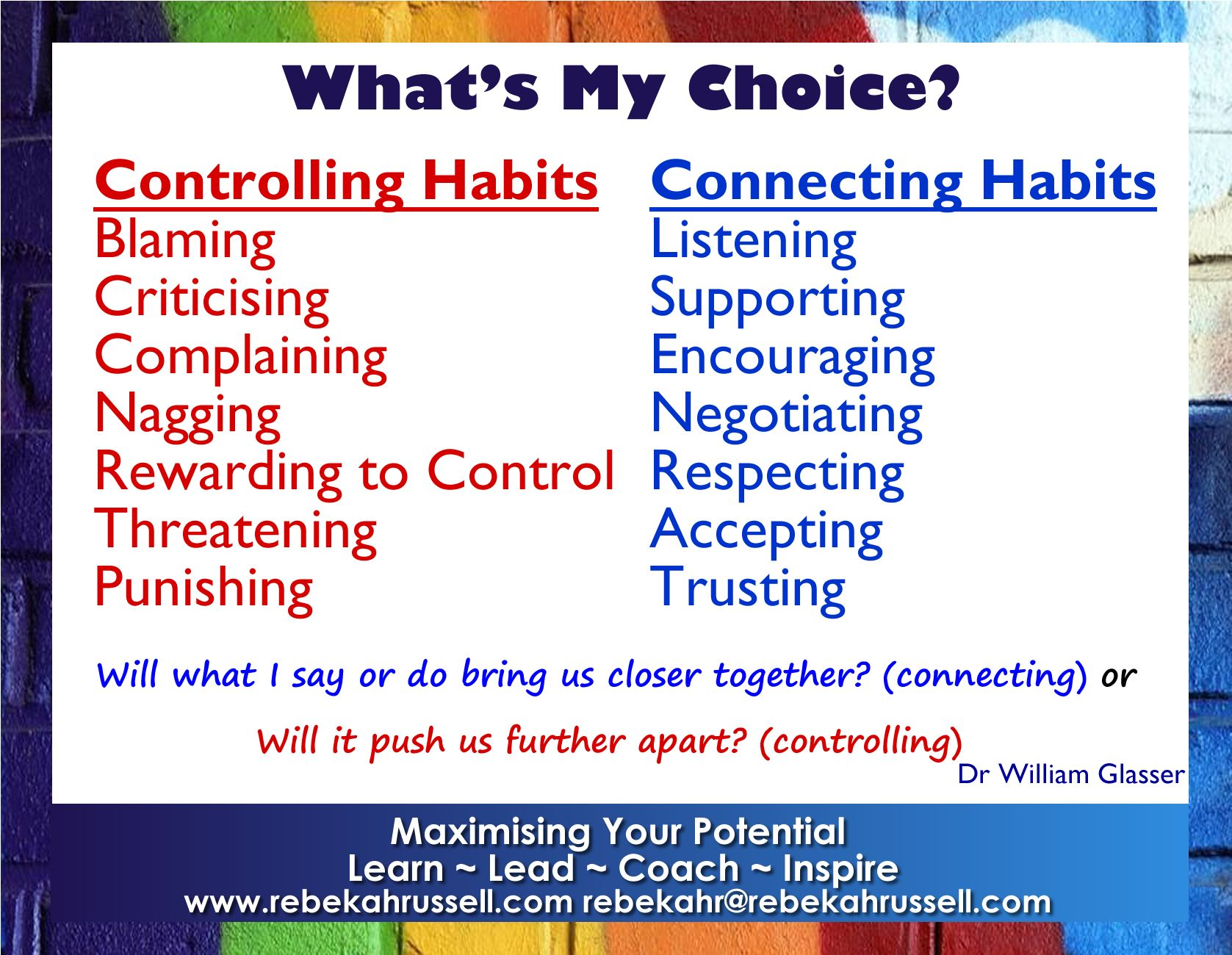 Controlling And Connecting Habits