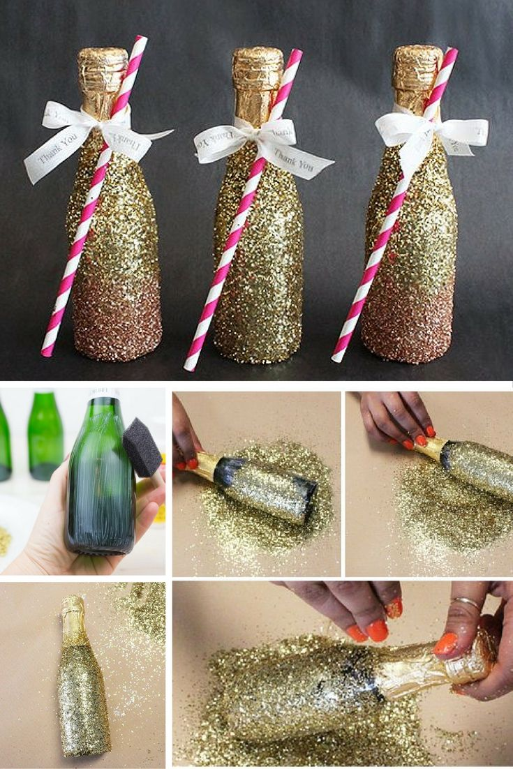DIY Glitter Champagne Bottles Birthday For Him 23rd Ideas
