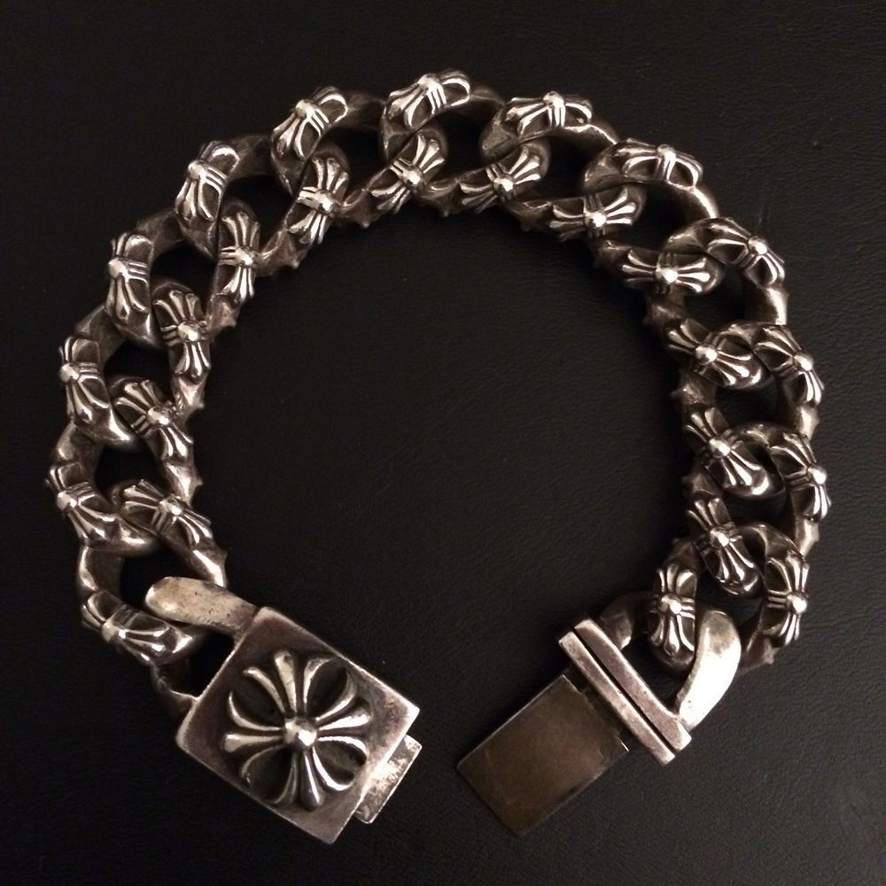 Authentic Chrome Hearts Wide Wristband Bracelet Leather Star Brand New