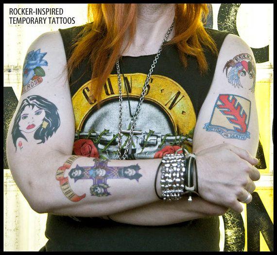 Axl Rose Inspired Temporary Tattoos Handmade Guns N Roses