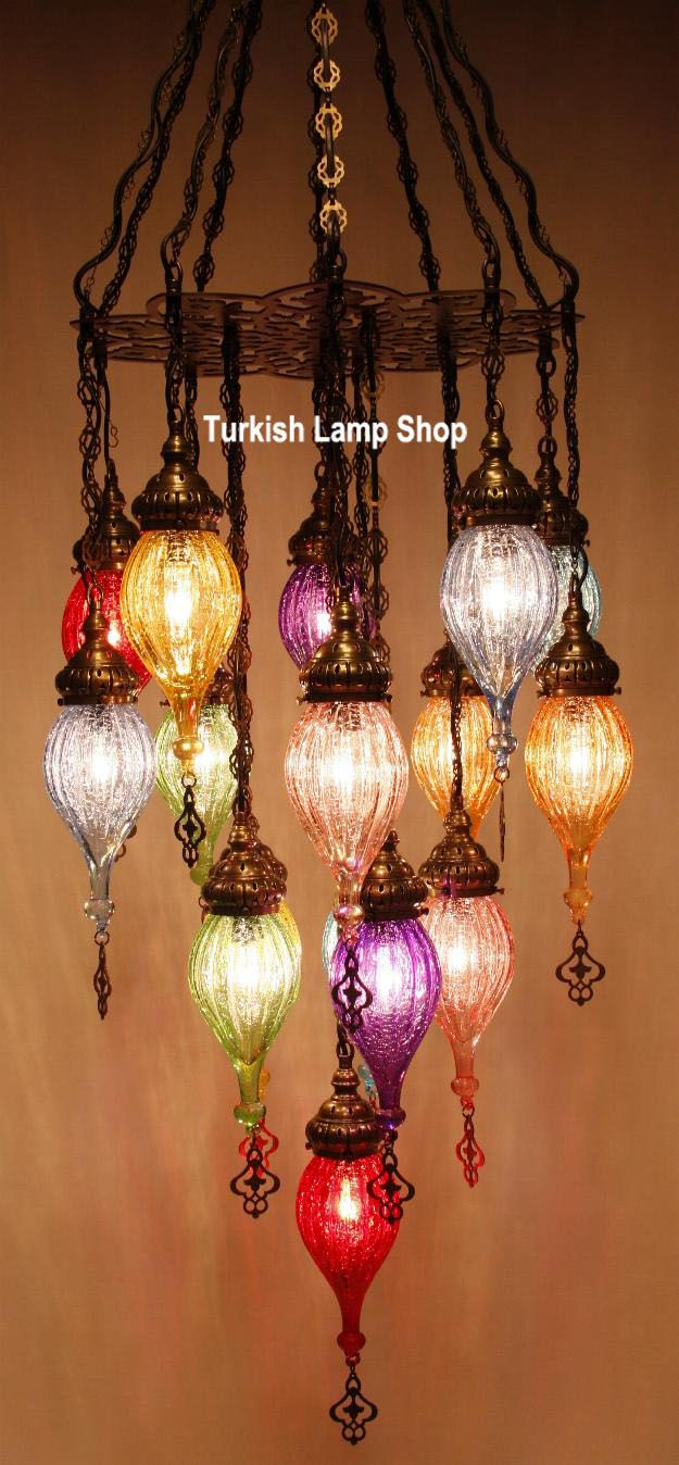 Luxury Hanging Multi Colored Handmade Turkish Brass Lamps Chandeliers