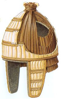 Reconstruction of a Mycean helmet covered with boar tusks. Peter Conolly - The helmet was made of felt and several layers of leather strips. The boar tusks were sewed on external leather strips placed in longitudinal rows. The boar tusks helmets have been utilized during all the Greek Bronze Age periods (see also the pages dedicated to the early and late period helmets) and are also attested in the Iliad