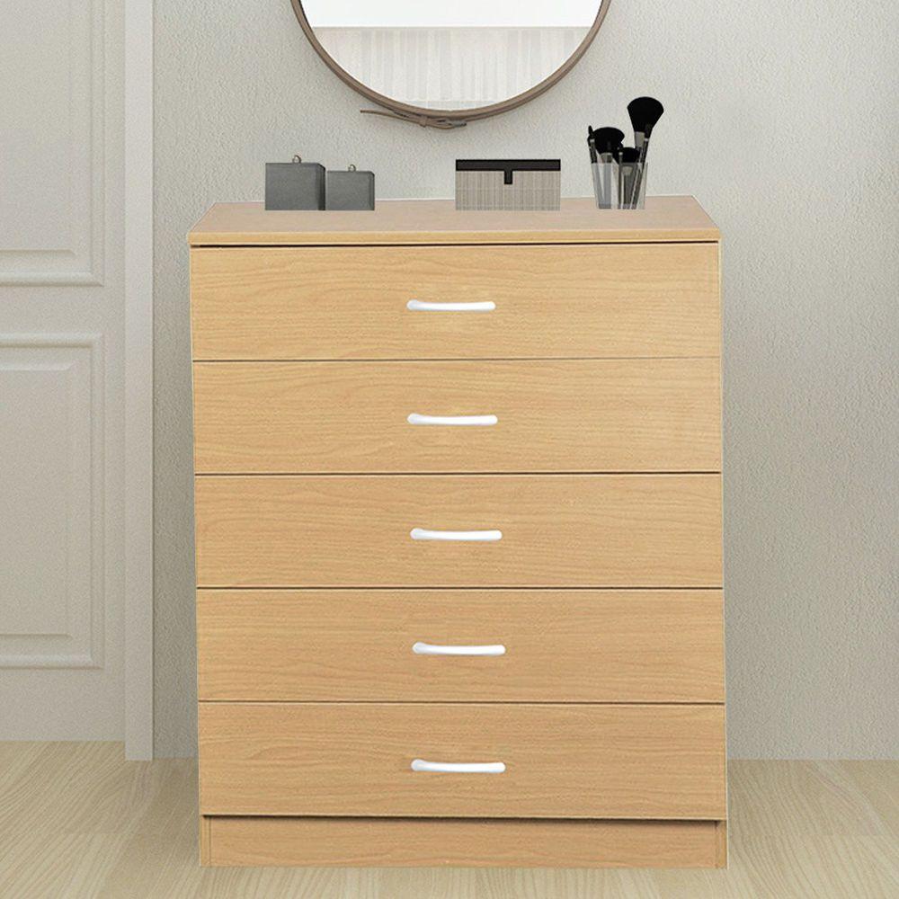 Wooden Chest Of 5 Drawers Dressers Cabinet Nightstand Wardrobe Bedroom Beech Wooden Chest 5 Drawer Dresser Dresser