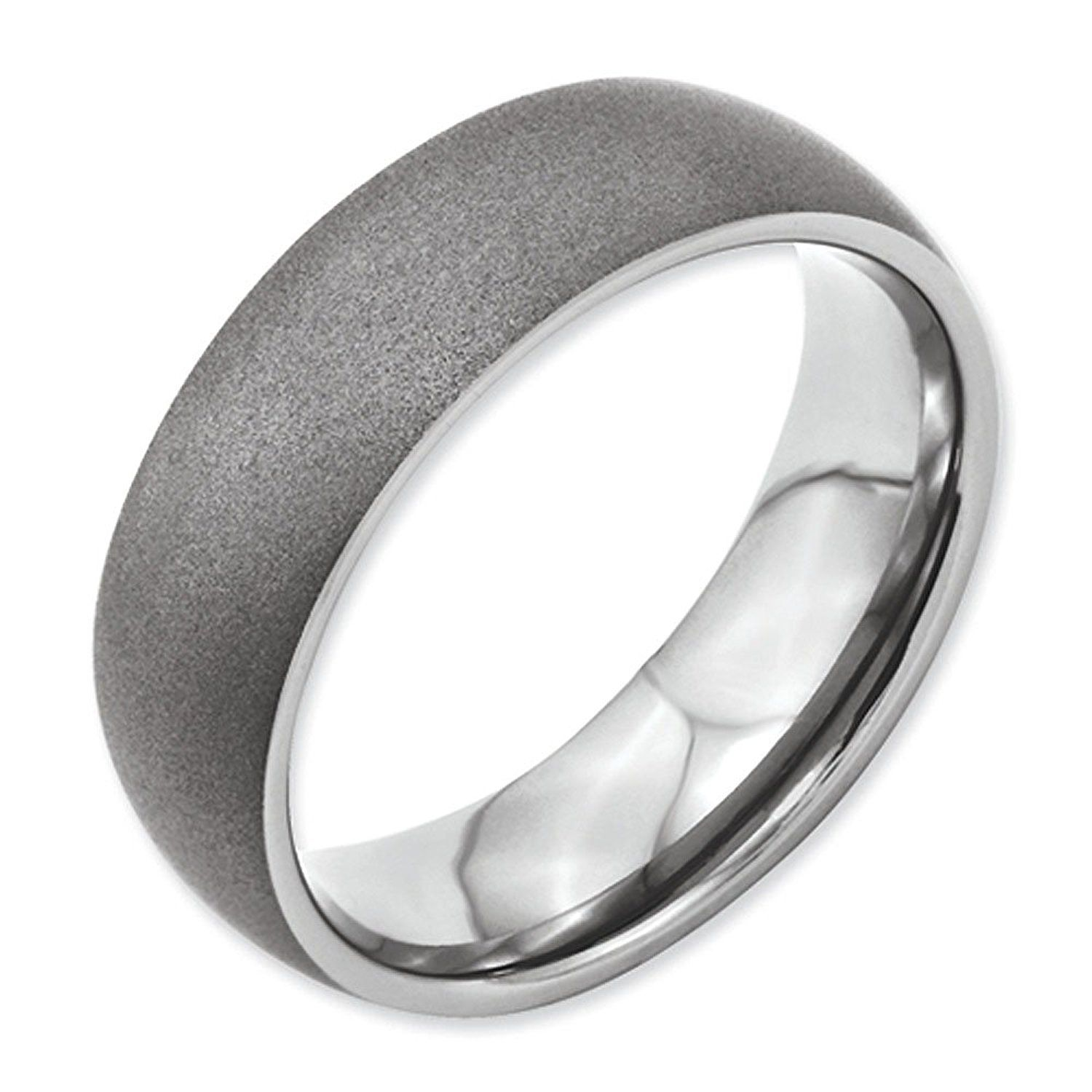 Chisel 7mm Stone Finish Anium Domed Contemporary Wedding Band Tried It Love