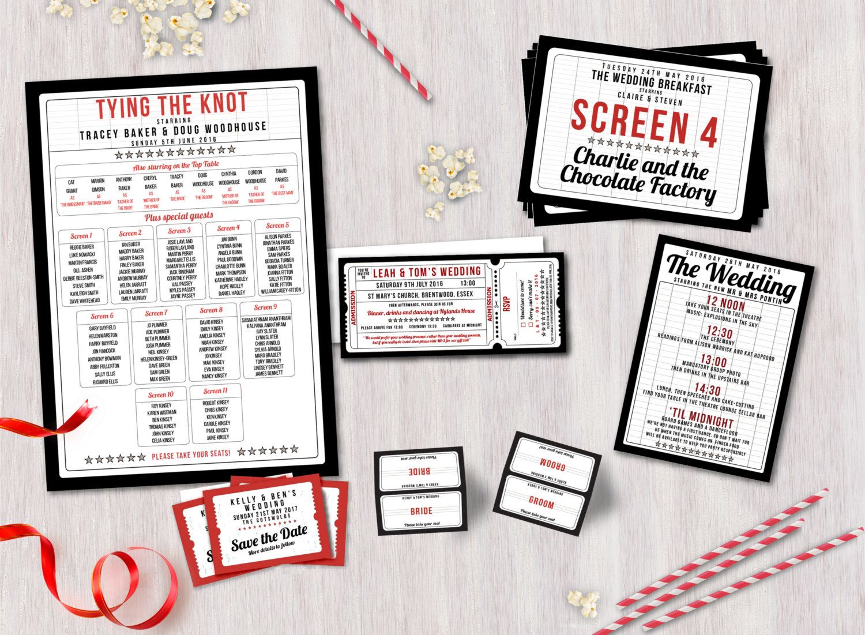 100 personalised Cinema / Movie ticket themed wedding invitations ...